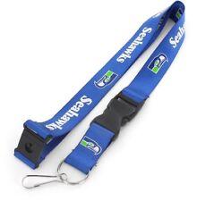Seattle Seahawks Football NFL Retro Lanyard Key Ring Keychain w/ Safety Clip