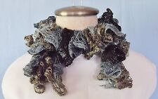 """New Hand Crocheted Silver Sparkle Gray Blue Brown Twisted Ruffled Scarf 29"""" Long"""