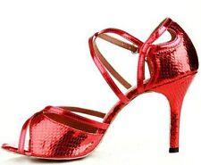 New Women Red Snakeskin Print Latin Salsa Ballroom Tango Dance Shoes All Size