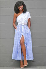Blue White Button up front Maxi Skirt Club Wear Fashion Party Size S M L