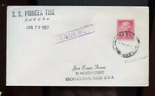 """Ship Cover """"SS Pioneer Tide"""" 1957 with Hobart, Tas, Australia Cancel on US"""