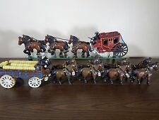 Cast Iron Horse & Buggy/Cart/Wagon- Vintage- Budweiser? Coca-Cola? Lot of 2