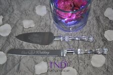 OUR WEDDING CAKE KNIFE AND SERVER SET ENGRAVED WITH WEDDING BELLS & RINGS DESIGN