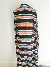 Stampato ART DECO ispirato Multi Colore a Righe in tessuto raso di seta matt