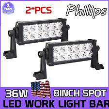 2X 8inch 36W Philips LED Work Light Bar SPOT Off-road Driving Lamp Car ATV SUV