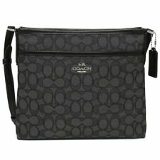 NWT Coach F29960 Signature Jacquard Crossbody File Bag Purse Black Smoke $195