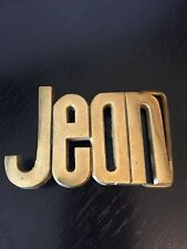 Jean Spelled Out Belt Buckle Solid Brass Taiwan R.O.C. Numbered