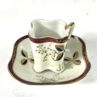 Vintage Sealy China Demitasse Tea Coffee Cup & Saucer Japan Gold Leaf