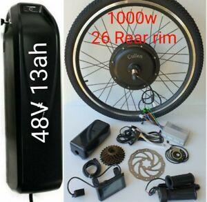 "26"" Rear Wheel Electric Bicycle 1000W 48V E Bike Motor Conversion Kit LCD Meter"