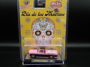 1973 CHEVY DELUXE 10 TRUCK 2020 M2 MACHINES GOLD CHASE 1/500 DIA DE LOS MUERTOS