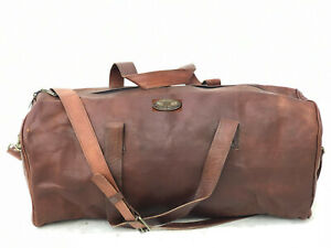 Leather Duffel Travel Holiday Luggage Large Compartment Weekend Overnight Bag