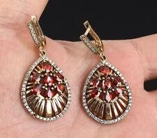 & Bronze Earrings #53755 Drops Ruby .925 Silver