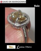 3.09 ct  Yellow Diamond Ring - Diamond Accents