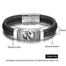 Popular Stainless Steel Bracelet Genuine Leather Bracelets Jewelry Gift For Men