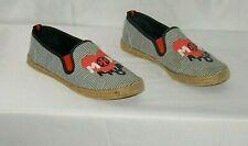 Tory Burch Women's Shoes Size 7.5 Textile & Jute Blue Stripe Mon Amour Slip On