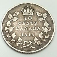 1916 Canada 10 Ten Cents Dime Circulated Canadian Coin D475