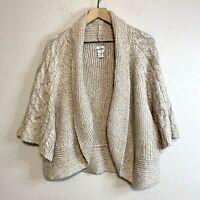 Chico's Women's 3 = XL Cardigan Knit Sweater Open Front 3/4 Sleeve Oatmeal Cream