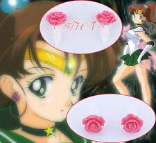Cafiona Sailor Moon Kino Makoto Sailor Jupiter Ear Studs Rose Flower Earrings