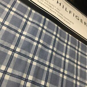Tommy Hilfiger QUEEN Sheet Set Navy Gray Blue White Menswear Plaid 4pc Free 📦