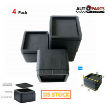 "4Pcs 2"" Inch Heavy Duty Black Square Bed Risers Furniture Sofa Risers Lifters"