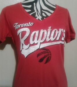 Toronto Raptors Womens Red V-Neck Baby Jersey Tee by 5th and Ocean-(MED) NBA4Her