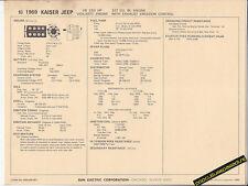 1969 KAISER JEEP V8 250 hp VIGILANTE 327 ci Car SUN ELECTRONIC SPEC SHEET