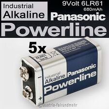 5x 9Volt Block 6LR61 MN1604 Batterie PANASONIC POWERLINE INDUSTRIAL