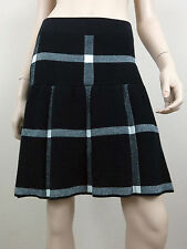 ELLE Fit and Flare Knitted Mini Skirt Elastic Waistand Plaids Black White S