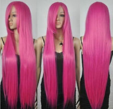 New Extra Long Straight Rapunzel Tangled Hot Pink Bangs Cosplay Hair Wigs
