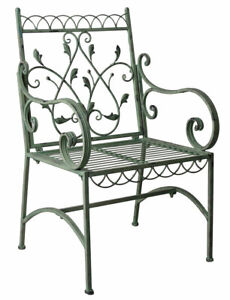 Metal Chair Antique Garden Balcony Vintage Armchair Armrest