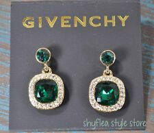 Givenchy Earrings Emerald Green Drop Cushion Cut Crystals Pave Sparkly Two Stone