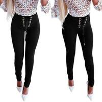 Womens Skinny Slim Fit Pencil Pants Leggings Bandage High Waist Casual Trousers