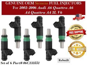 6 Fuel Injector OEM Siemens for 2002-2006 Audi A6 Quattro A6 A4 Quattro A4 3L V6