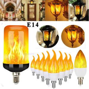 E14 E27 LED Fackel Feuer Lampe Flammen Licht 3/4 Modi Effekt Glühbirne Flacker