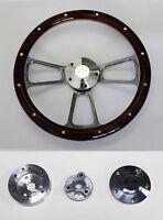 "1955 1956 Bel Air 150 210 Mahogany rivets Billet Steering Wheel  14"" Bowtie Cap"