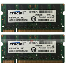 Used 8GB KIT 2x4GB PC2-6400 DDR2-800MHz DDR2 200pin Sodimm Laptop Memory RAM