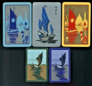 5 ART DECO LISTED SWAP PLAYING CARDS ASIAN JUNKS BOATS SPANISH GONDOLAS ON WATER
