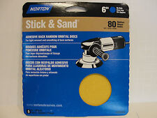 Norton 6 Inch Stick & Sand 80 Grit Medium, 5 Discs, # 48910 *New*