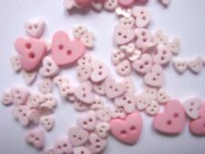 TRIMITS  TEENY TINY MINI HEART CRAFT/DOLL BUTTONS 3 sizes - Pinks (06)