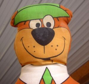 YOGI BEAR doll plush Hanna-Barbera cartoon 1970s homemade throw pillow