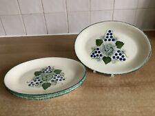 Poole Handpainted Pottery Vineyard Grapes - 4 x 22.5 cm Oval Side / Tea Plates