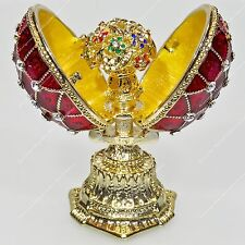 1.5'' EASTER ENAMELED MINI EGG TRINKET BOX TRELLIS RUSSIAN TRADITIONS OF FABERGE
