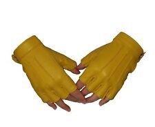 Womens Genuine  Soft Sheepskin Leather Half Finger Driving Gloves