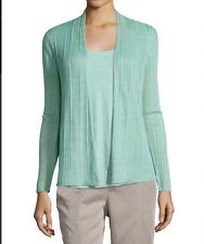 EILEEN FISHER $248 calypso open ribbed delave linen straight cardigan M NWT