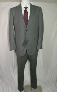 Dunhill Belgravia Fit Gray Striped Flat Front  Two Button Suit 46R NWT