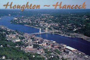 Houghton - Hancock Michigan, Portage Lake Ship Canal, Copper Country -- Postcard