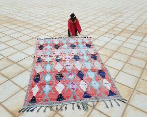 "Vintage Azilal Rug Berber Wool Moroccan Boucherouite Carpet Teppich 6'11""x4'3"""