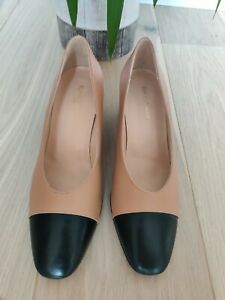 Brand New Russell & Bromley Nude Leather Court Shoe with Black Toe-Cap, Size 7