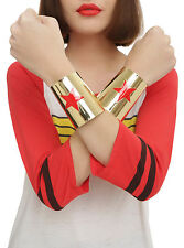 DC Comics WONDER WOMAN Costume Cosplay ADULT Arm Gold Tone Metal Cuffs Red Star