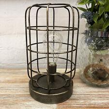 Vintage Industrial Metal Retro Bedroom Floor Side Table Desk Caged Light Lamp